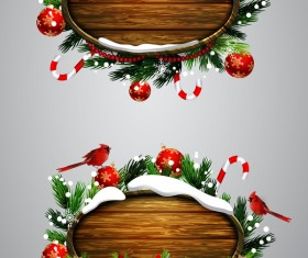 Wooden christmas lables design vector 04