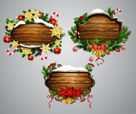 Wooden christmas lables design vector 05