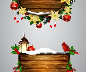 Wooden christmas lables design vector 06