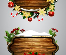 Wooden christmas lables design vector 07