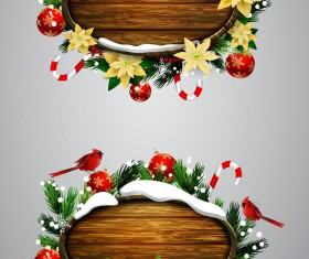 Wooden christmas lables design vector 08