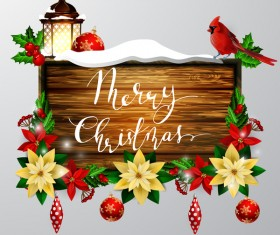 Wooden christmas sign creative vector