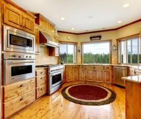Wooden closet kitchen Stock Photo