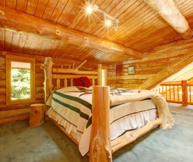 Wooden houses and wooden bedroom Stock Photo