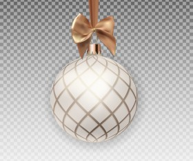 Xmas baubles illustration with beige bow vector