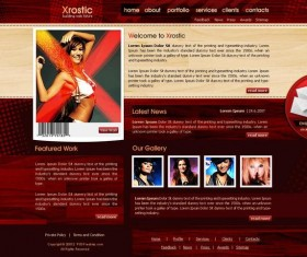 Xrostic red website template psd material