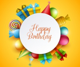 Yellow birthday background with gifts vector 01