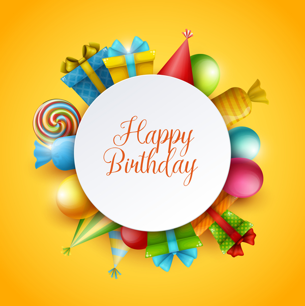 Yellow Birthday Background With Gifts Vector 01 Free Download