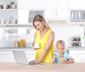 Young mother with daughter at home Stock Photo 05