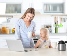 Young mother with daughter at home Stock Photo 09