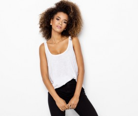 Young woman in fluffy short curly hair Stock Photo 01