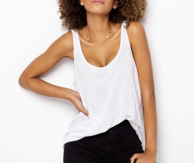 Young woman in fluffy short curly hair Stock Photo 02