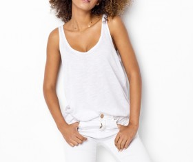 Young woman in fluffy short curly hair Stock Photo 04