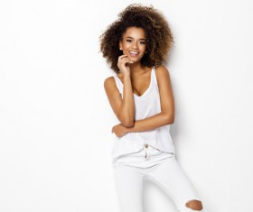Young woman in fluffy short curly hair Stock Photo 06