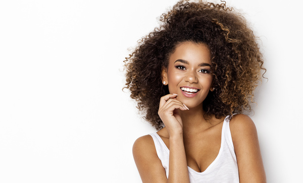 Young woman in fluffy short curly hair Stock Photo 07