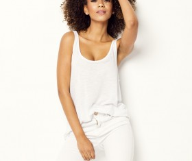 Young woman in fluffy short curly hair Stock Photo 08