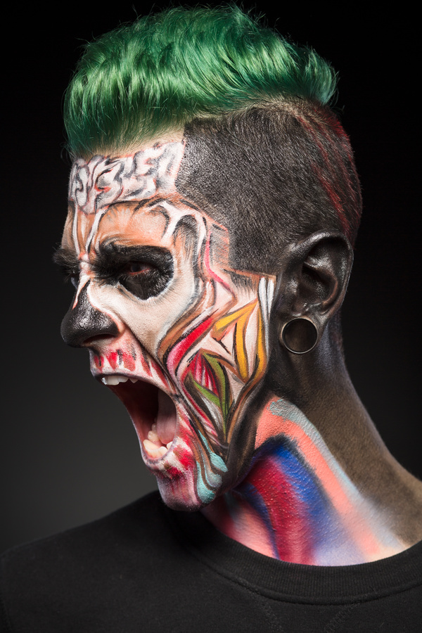 Young zombie Halloween fashion make up Stock Photo 02