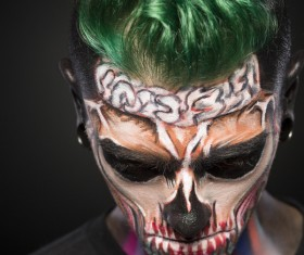 Young zombie Halloween fashion make-up Stock Photo 03