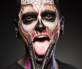 Young zombie Halloween fashion make-up Stock Photo 06