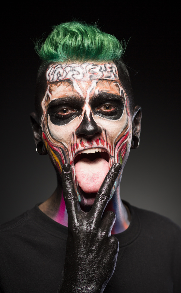 Young zombie Halloween fashion make up Stock Photo 07