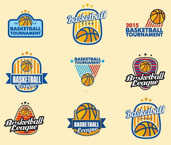 basketball logos set vector