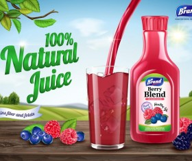 berry blend natural juice poster template vector 02