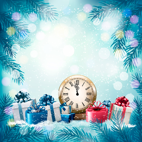 Blue Holiday Background With Chistmas Branch And Gift