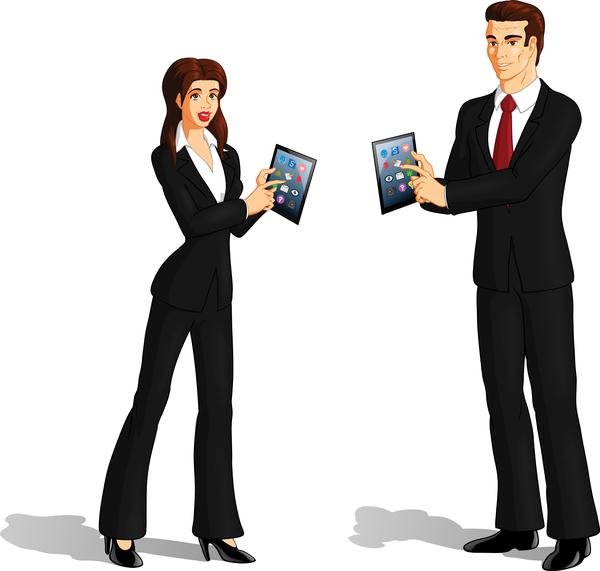 business technology brunette vector