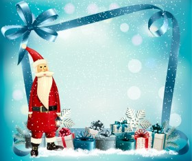 chistmas holiday background with presnts and Santa vector