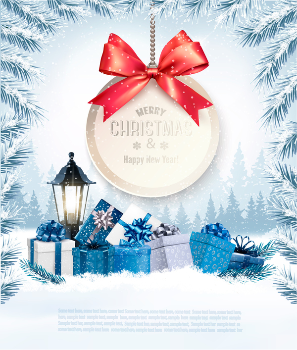 Christmas Background With Christmas Presents And Gift Card Vector Free Download