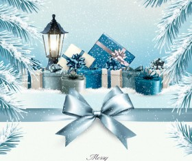 christmas background with colorful boxes and blue bow vector