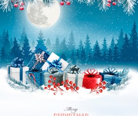 christmas background with colorful gift boxes and landscare vector