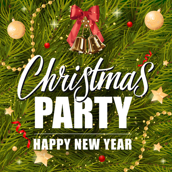 christmas with new year fir tree background vector