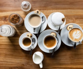 coffee beverage preparation wooden table Stock Photo