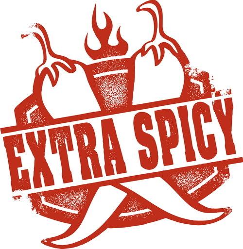 extra spicy label design vector