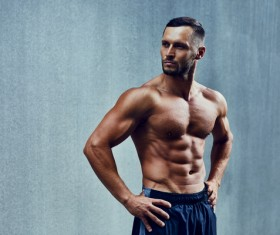 fitness muscled man Stock Photo 01