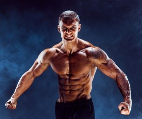 fitness muscled man Stock Photo 02
