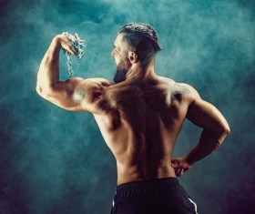 fitness muscled man Stock Photo 03