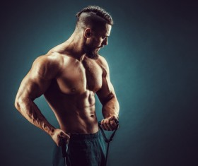 fitness muscled man Stock Photo 04