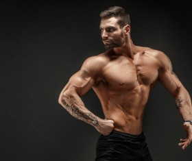 fitness muscled man Stock Photo 05