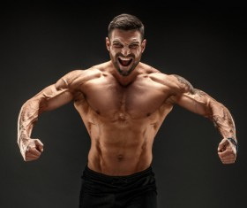fitness muscled man Stock Photo 06