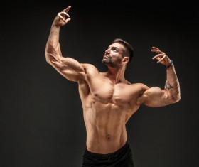fitness muscled man Stock Photo 07