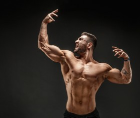fitness muscled man Stock Photo 08