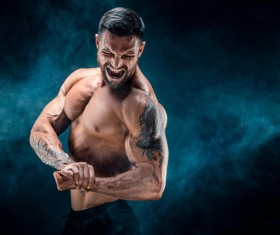 fitness muscled man Stock Photo 09