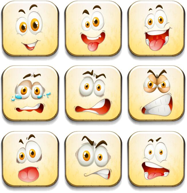 funny square expression icons