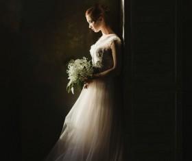 girl in bridal costume Stock Photo