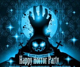halloween horror party flyer template vector