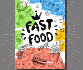hand drawn fast food flyer template vector