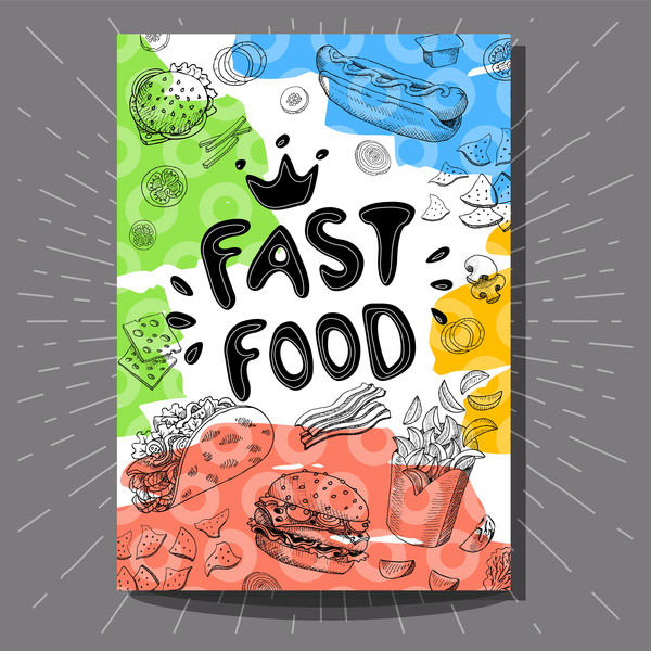 Hand Drawn Fast Food Flyer Template Vector  Vector Cover Free Download
