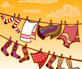 hanging towels socks vector